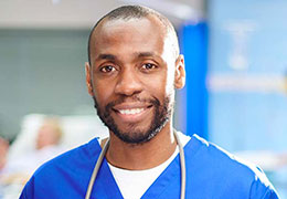 african american male nurse smiling